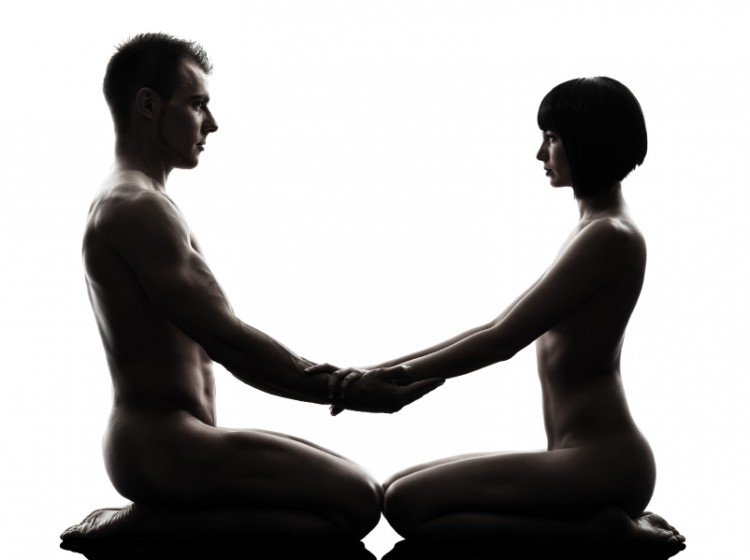 one caucasian couple man woman sexual kamasutra posture love activity in silhouette studio on white background